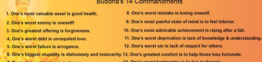 BUDDHA'S 14 COMMANDMENTS
